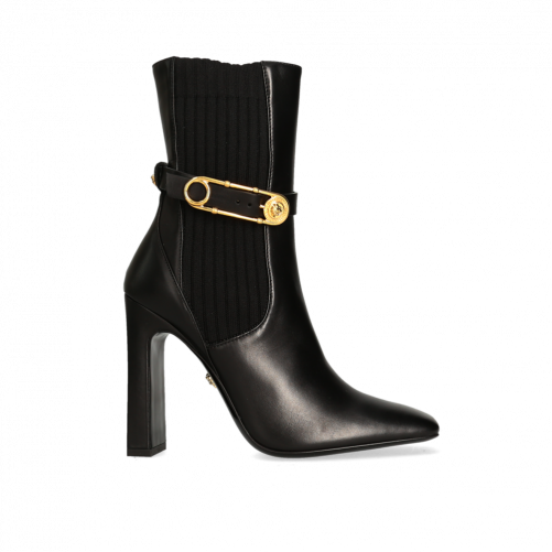 SAFETY PIN LEATHER ANKLE BOOTS VERSACE